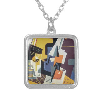 Juan Gris - Violin and Glass Square Pendant Necklace