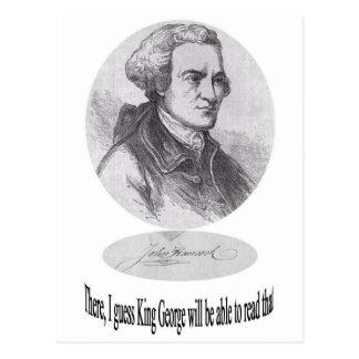 Juan Hancock, firma y cita Postal