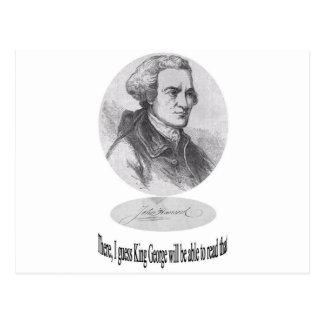 Juan Hancock, firma y cita Postales