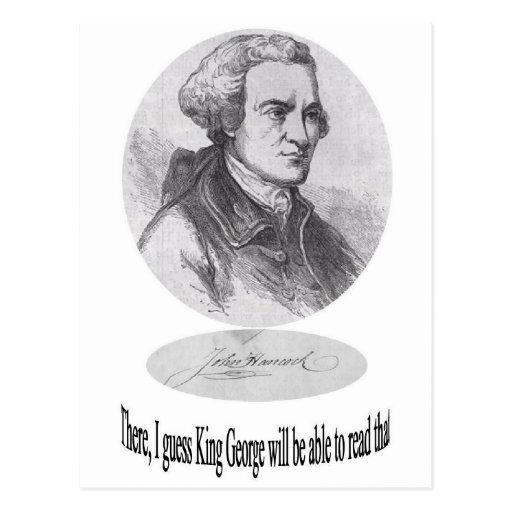 Juan Hancock, firma y cita Tarjeta Postal