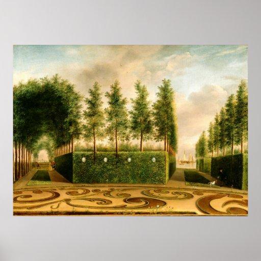 Juan Janson una pintura del vintage del jardín Póster