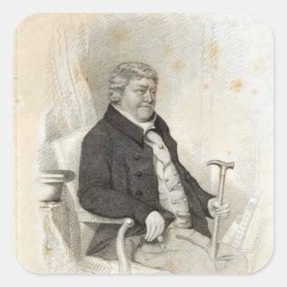 Juan Nichols, grabado por H. Meyer, 1825 Calcomanias Cuadradas
