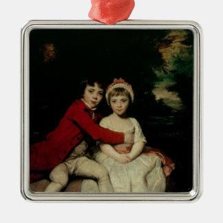 Juan Parker y su hermana Teresa, 1779 Adorno Navideño Cuadrado De Metal