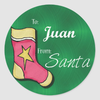 Juan Personalized Christmas Label79 Classic Round Sticker