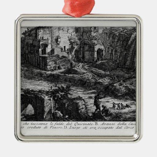 Juan Piranesi- las antigüedades romanas Adorno Cuadrado Plateado