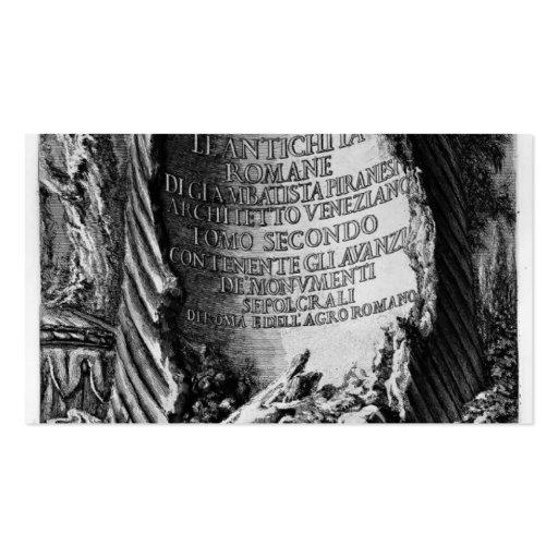 Juan Piranesi- las antigüedades romanas del palaci Plantillas De Tarjetas De Visita