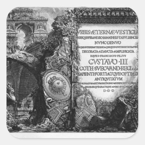 Juan Piranesi- las antigüedades romanas Pegatina Cuadradas
