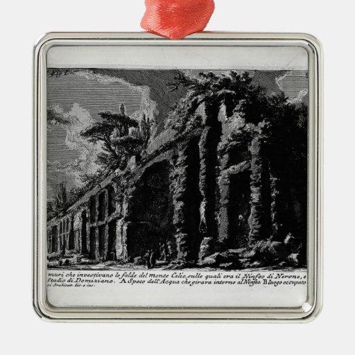 Juan Piranesi- los siete Halls.Baths de Trajan Adorno Cuadrado Plateado