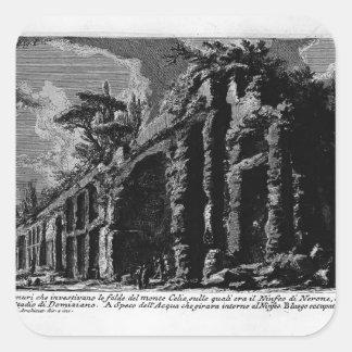 Juan Piranesi- los siete Halls.Baths de Trajan Pegatina Cuadrada