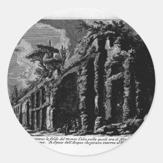 Juan Piranesi- los siete Halls.Baths de Trajan Pegatina Redonda
