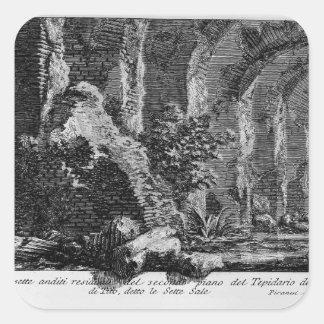Juan Piranesi- los siete pasillos Pegatina Cuadrada