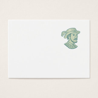 Juan Ponce de Leon Explorer Drawing Business Card