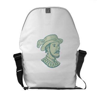 Juan Ponce de Leon Explorer Drawing Messenger Bag
