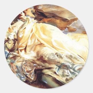 Juan Sargent: Lectura de la mujer en un mantón de Pegatina Redonda