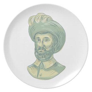 Juan Sebastian Elcano Bust Drawing Dinner Plate