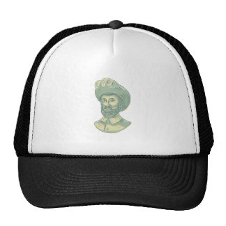 Juan Sebastian Elcano Bust Drawing Trucker Hat