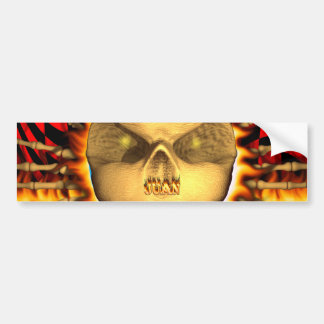 Juan skull real fire and flames bumper sticker des
