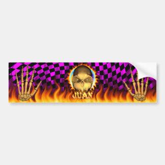 Juan skull real fire and flames bumper sticker des car bumper sticker