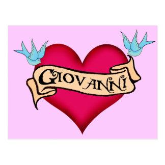 Juan - tatuaje de encargo del corazón postal