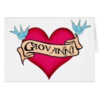 Juan - tatuaje de encargo del corazón tarjeta de felicitación