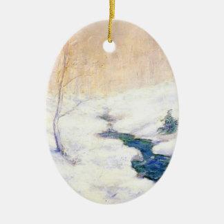 Juan Twachtman: Corriente del arbolado en paisaje  Ornamento De Reyes Magos
