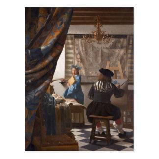 Juan Vermeer - alegoría del arte de la pintura Tarjetas Postales