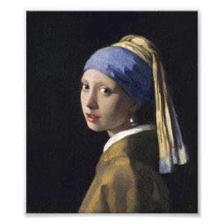 Juan Vermeer - chica con un pendiente de la perla Impresión Fotográfica