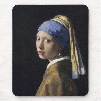 Juan Vermeer - chica con un pendiente de la perla Alfombrillas De Ratón