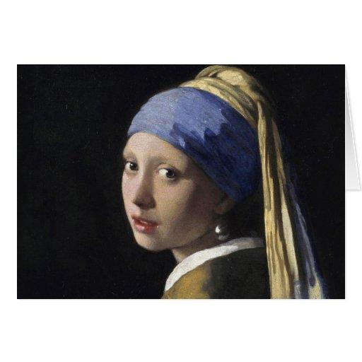 Juan Vermeer - chica con un pendiente de la perla Tarjeta De Felicitación