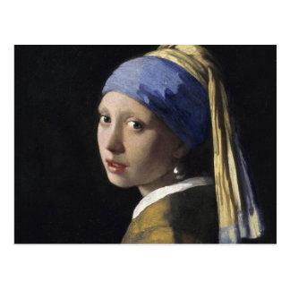 Juan Vermeer - chica con un pendiente de la perla Tarjeta Postal