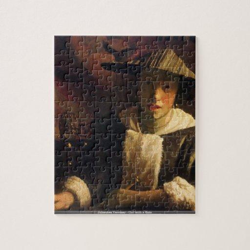 Juan Vermeer - chica con un rompecabezas de la fla