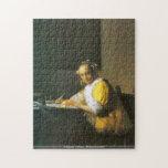 Juan Vermeer - mujer en rompecabezas amarillo