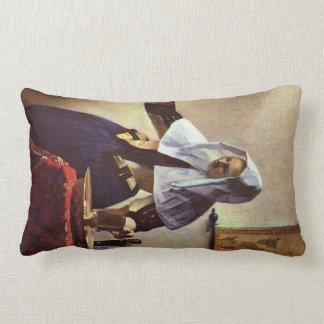 Juan Vermeer - mujer joven con un jarro de agua en Cojin