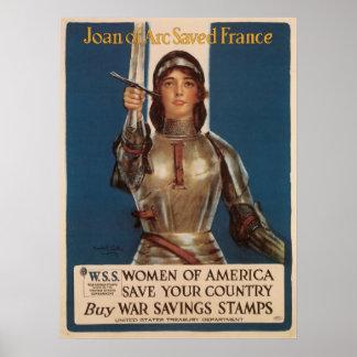 Juana de Arco ahorró Francia Póster