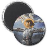 Juana de Arco con la bandera Imán Redondo 5 Cm