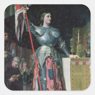 Juana de Arco en la coronación de rey Charles Pegatina Cuadrada