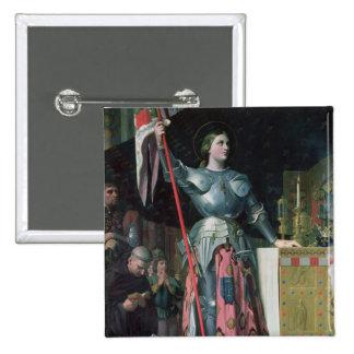 Juana de Arco en la coronación de rey Charles Pin Cuadrada 5 Cm