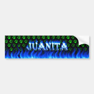 Juanita blue fire and flames bumper sticker design