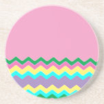 Juanita Chic Pink Chevrons Pattern Peace Love Art Drink Coaster