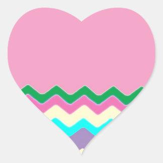 Juanita Chic Pink Chevrons Pattern Peace Love Art Heart Sticker