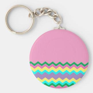 Juanita Chic Pink Chevrons Pattern Peace Love Art Key Chain