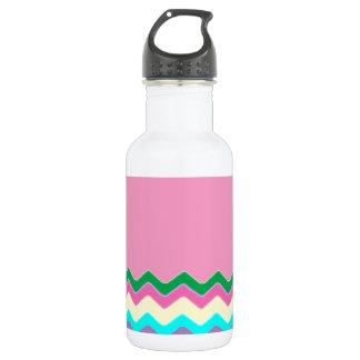Juanita Chic Pink Chevrons Pattern Peace Love Art 18oz Water Bottle