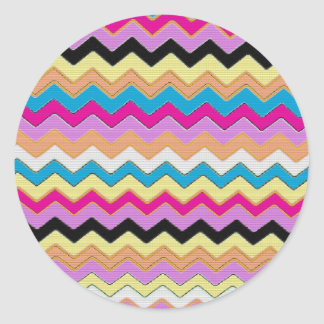 Juanita Pink Chevrons Pattern Peace Love Office Classic Round Sticker