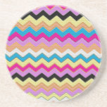 Juanita Pink Chevrons Pattern Peace Love Office Drink Coasters