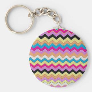 Juanita Pink Chevrons Pattern Peace Love Office Key Chains