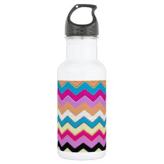 Juanita Pink Chevrons Pattern Peace Love Office Water Bottle
