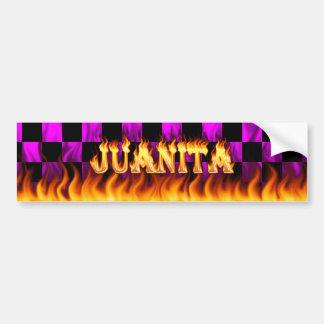 Juanita real fire and flames bumper sticker design
