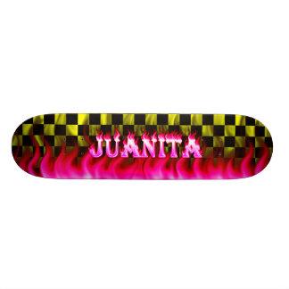 Juanita skateboard pink fire and flames design.