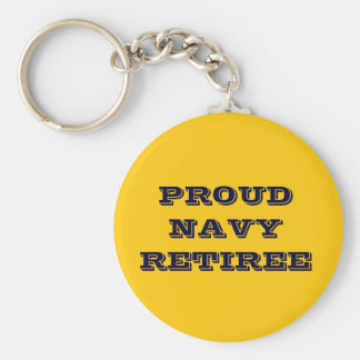 Jubilado orgulloso de la marina de guerra del llavero redondo tipo pin
