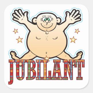 Jubilant Fat Man Square Sticker